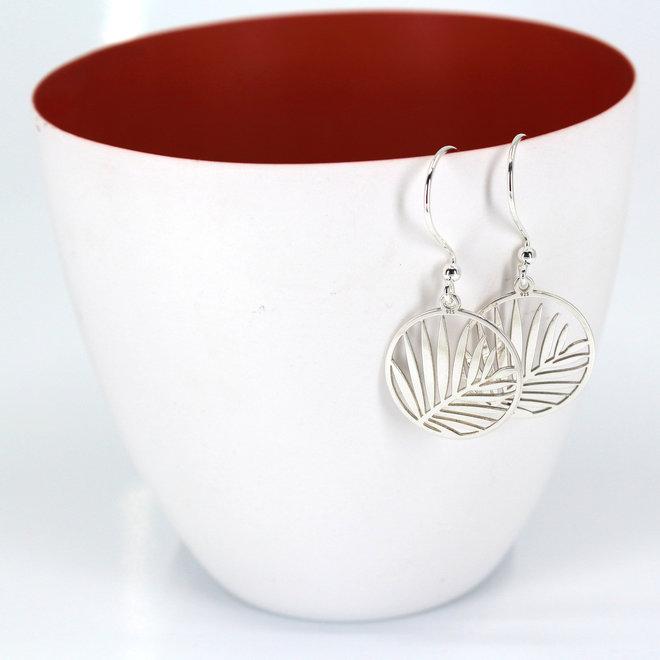 Earrings palm leaf pendant - sterling silver - ARLIZI 1837 - Kendal