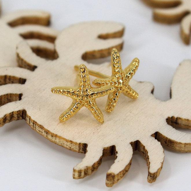 Earrings starfish ear studs - 925 sterling silver gold plated - ARLIZI 1832 - Zoe