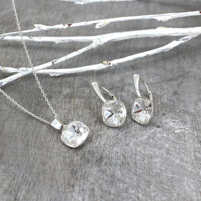 Jewelry set transparent Swarovski crystal - sterling silver - ARLIZI 1852 - Isabel