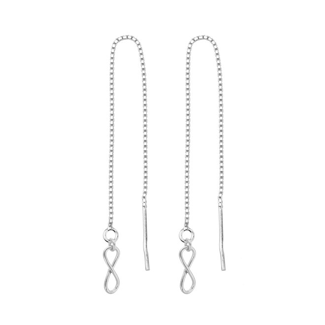Earrings pull through infinity sterling  silver - 1853