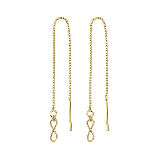 Earrings pull through infinity silver gold plated - 1854