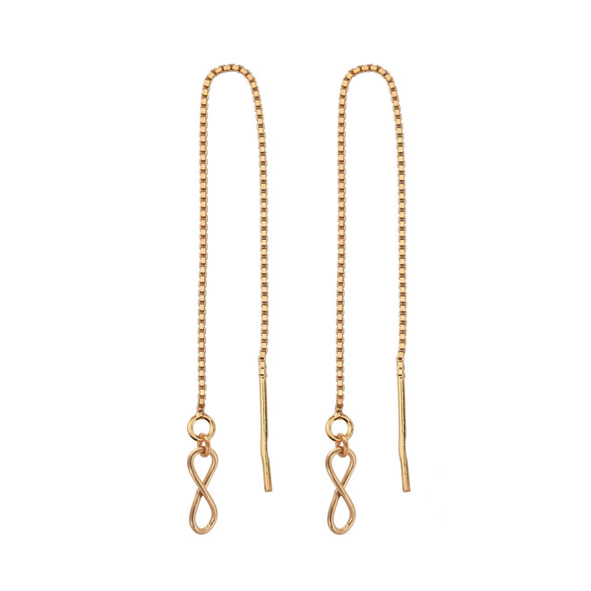 Earrings pull through infinity silver rose gold plated - 1855