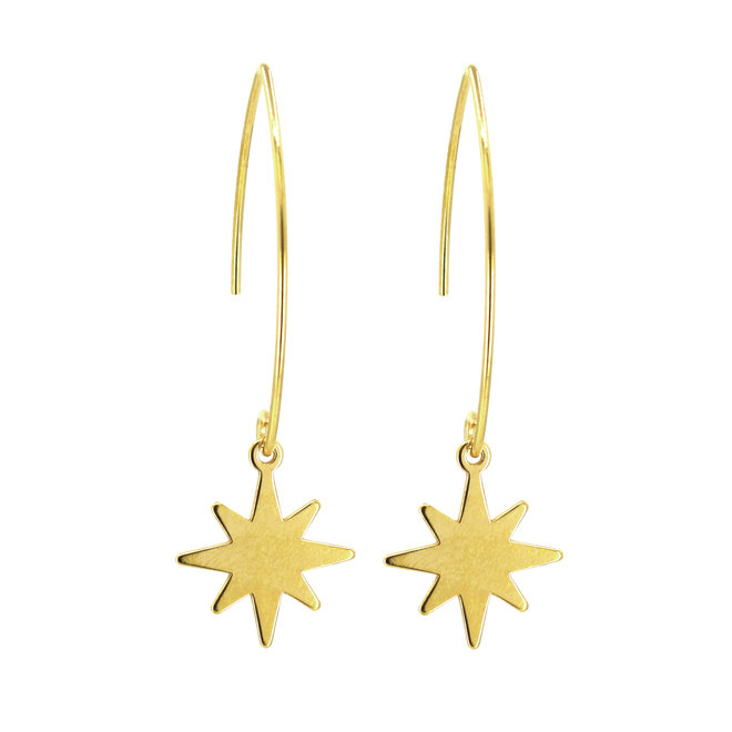 Earrings star pendant - sterling silver gold plated - ARLIZI 1834 - Kendal