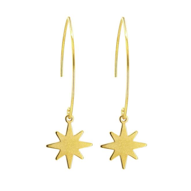 Oorbellen ster oorhangers - sterling zilver verguld - ARLIZI 1834 - Kendal