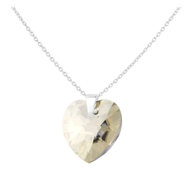 Necklace crystal heart sterling silver - 1856