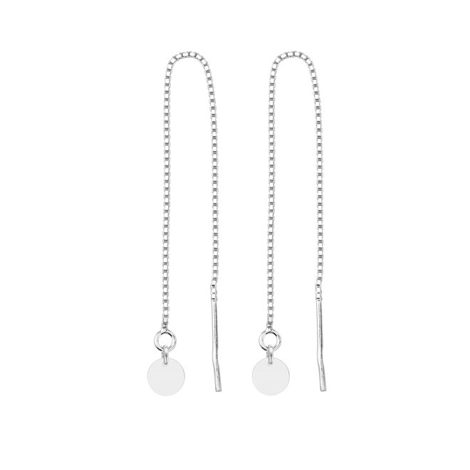 Earrings pull through disc sterling  silver - 1869