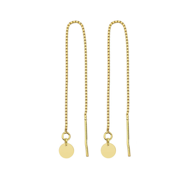 Earrings pull through disc - sterling silver gold plated - ARLIZI 1870 - Emma