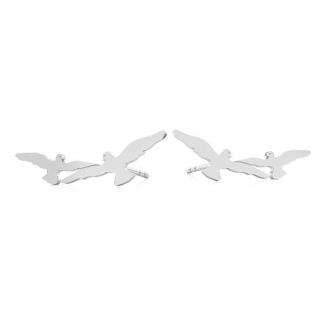 Oorbellen vogels oorklimmers - sterling zilver - 1871