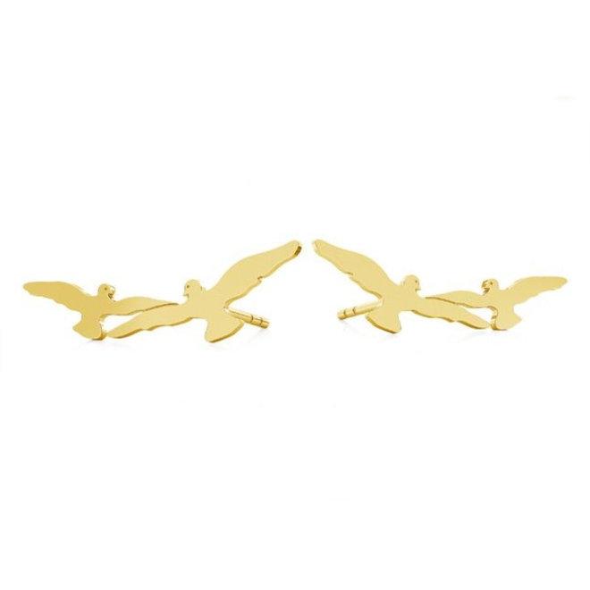Earrings birds ear climber - sterling silver gold plated - 1872