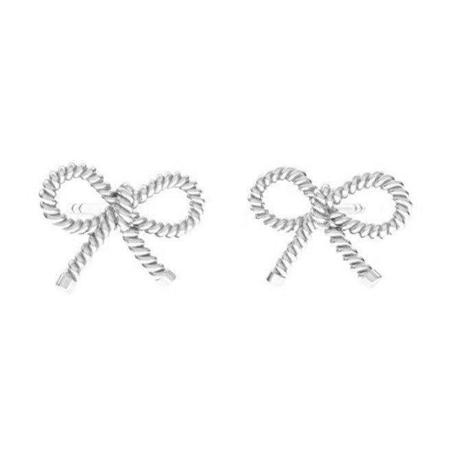 Earrings bow ear studs - sterling silver - 1873