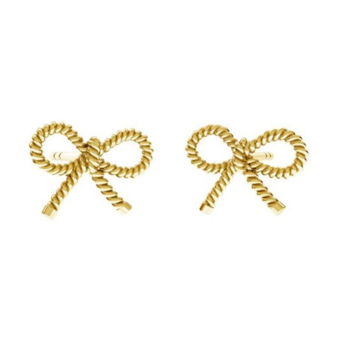 Earrings bow ear studs - sterling silver gold plated - 1874