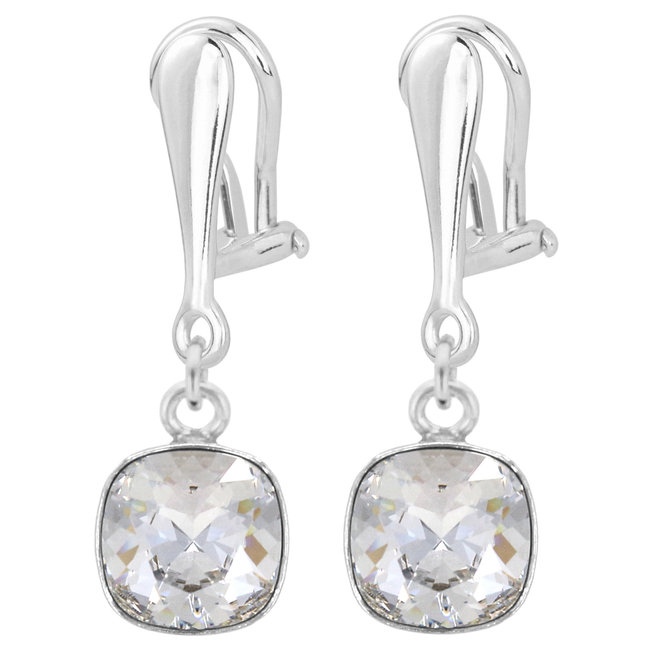 Clip on earrings transparent crystal - sterling silver - 1850