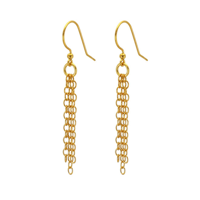 Earrings link chain pendant - sterling silver gold plated - 1876