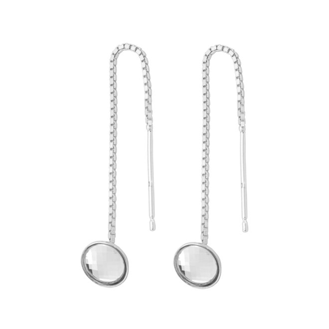 Earrings pull through crystal sterling  silver - 1877