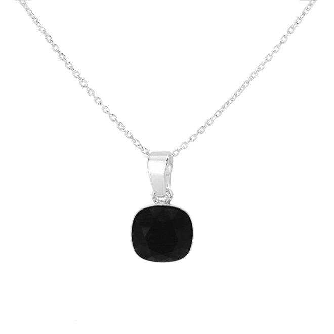 Ketting zwart Swarovski kristal hanger - sterling zilver - ARLIZI 1886 - Isabel