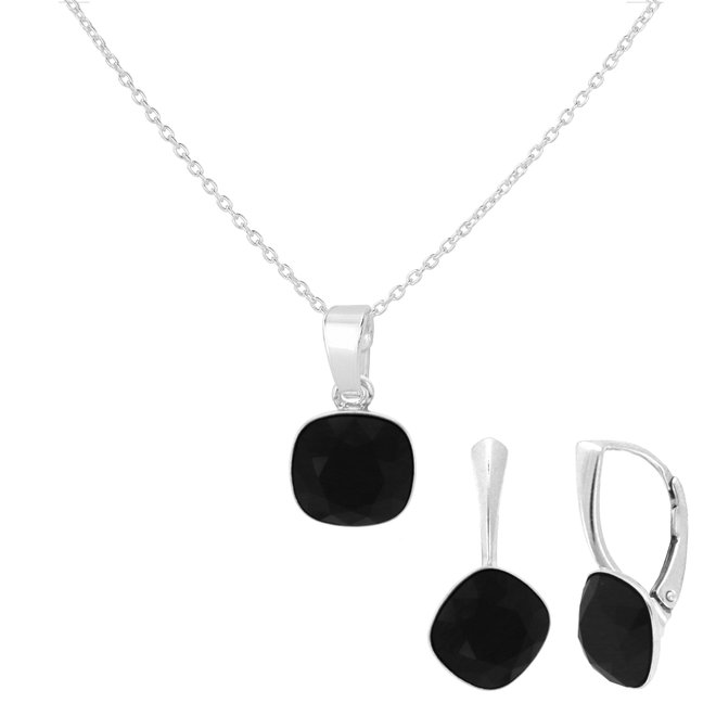 Sieraden set zwart Swarovski kristal - sterling zilver - ARLIZI 1887 - Isabel