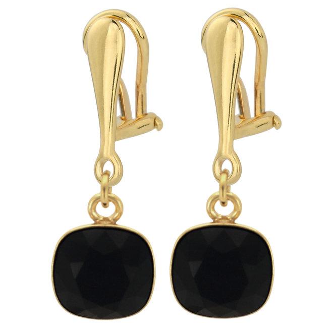 Oorbellen zwart Swarovski kristal oorclips - sterling zilver verguld - ARLIZI 1889 - Isabel