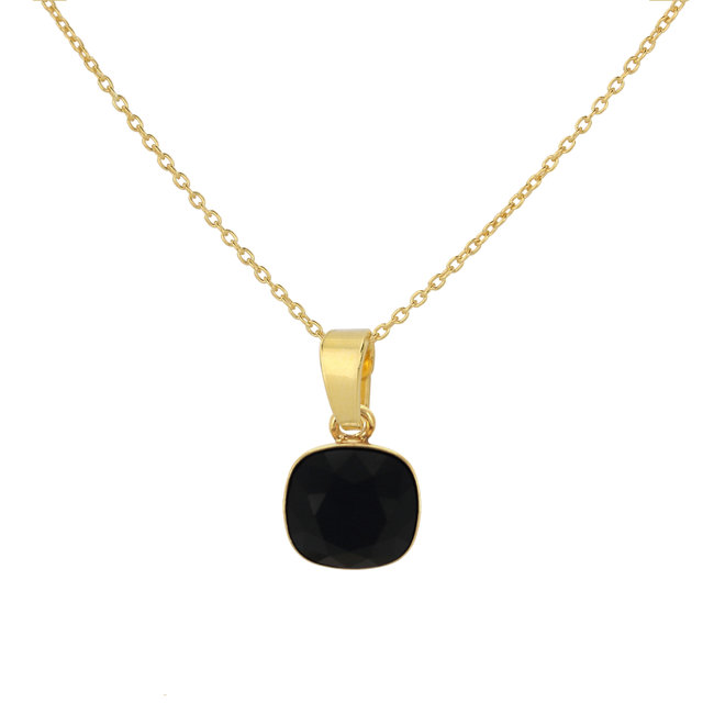 Halskette schwarz Swarovski Kristall Anhänger - Sterling Silber vergoldet - ARLIZI 1890 - Isabel