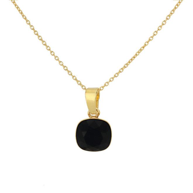 Necklace black Swarovski crystal pendant - sterling silver gold plated - ARLIZI 1890 - Isabel