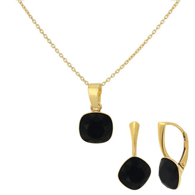 Jewelry set black Swarovski crystal - sterling silver gold plated - ARLIZI 1891 - Isabel