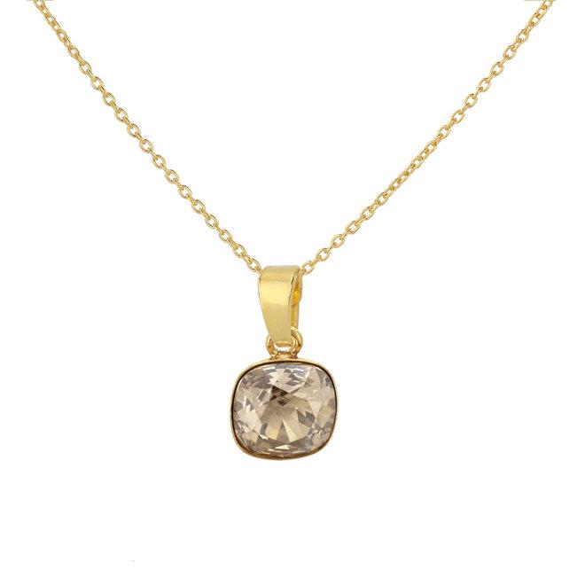 Halskette Kristall Anhänger Sterling Silber vergoldet - 1894