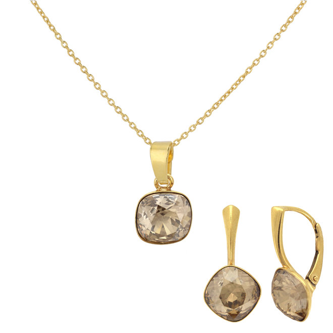 Jewelry set Swarovski crystal - sterling silver gold plated - ARLIZI 1895 - Isabel