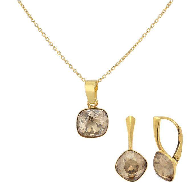 Sieraden set kristal - sterling zilver verguld - 1895