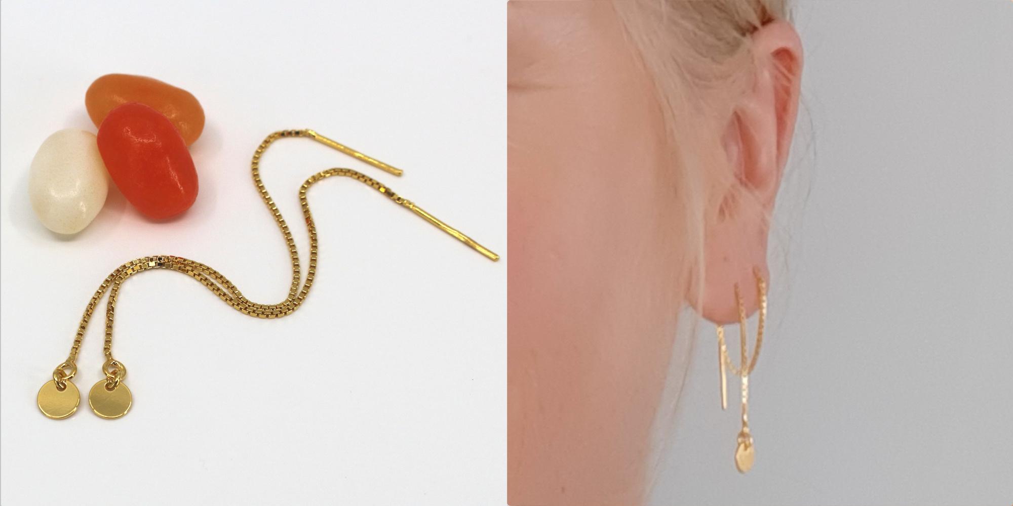 ARLIZI Schmuck Durchzieher Ohrring Sterling Silber vergoldet