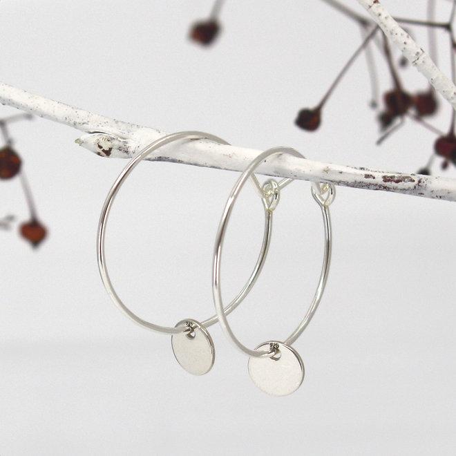 Earrings disc pendant - sterling silver - ARLIZI 1880 - Kendal