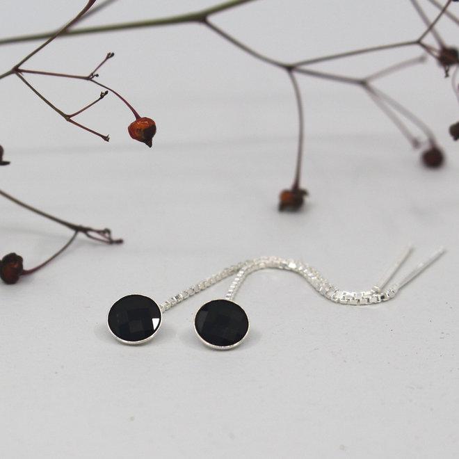 Doortrekoorbellen zwart Swarovski kristal - sterling zilver - ARLIZI 1878 - Joy