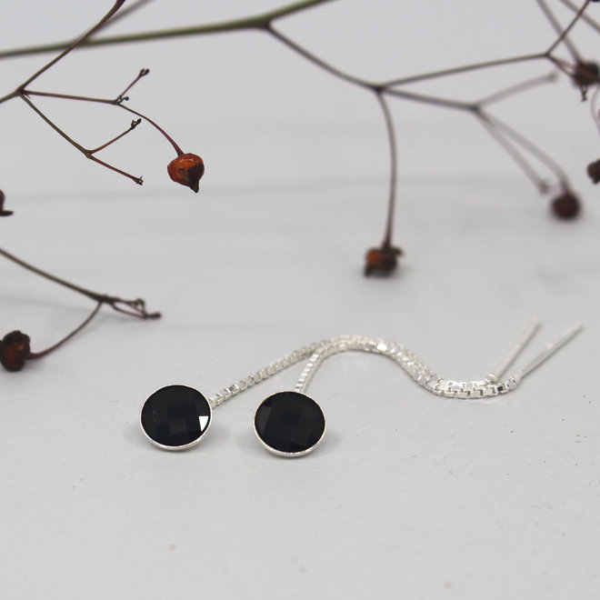 Durchzieher Ohrringe schwarz Swarovski Kristall - Sterling Silber - ARLIZI 1878 - Joy