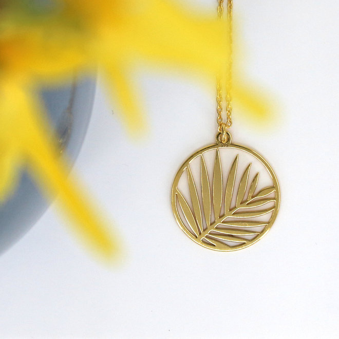 Necklace palm leaf pendant - sterling silver gold plated - ARLIZI 1840 - Kendal