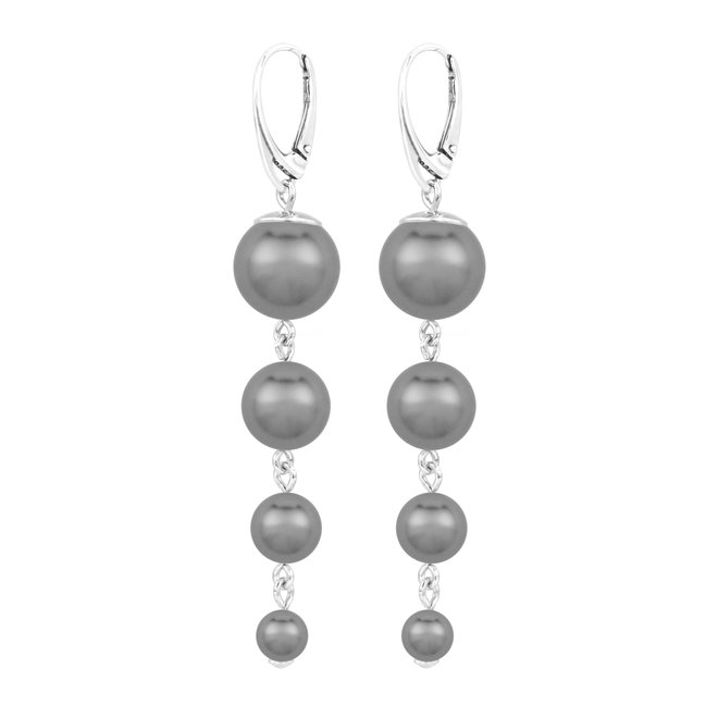 Pearl earrings anthracite - sterling silver - 1898