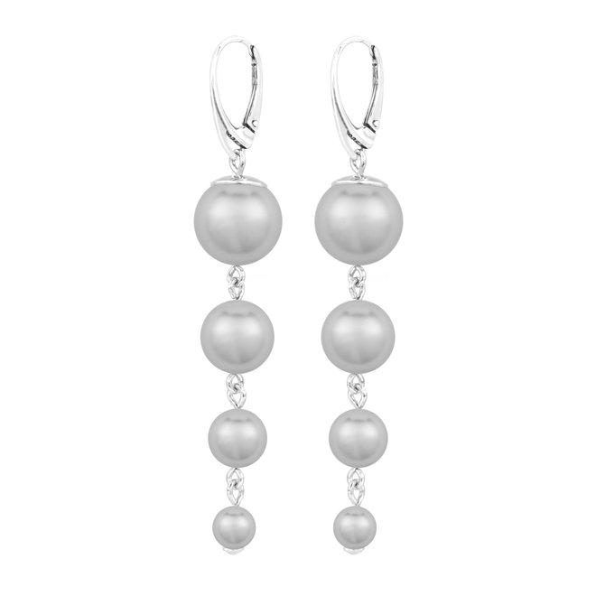 Pearl earrings grey - sterling silver - 1899