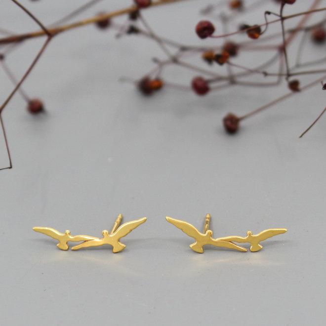 Earrings birds ear climber - 925 sterling silver gold plated - ARLIZI 1872 - Zoe