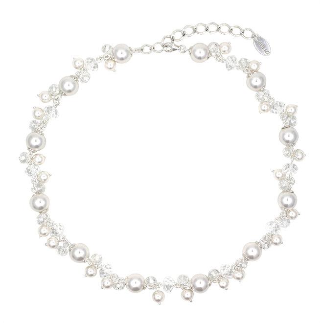 Halskette weiß Perle Kristall - Sterling Silber - 1344