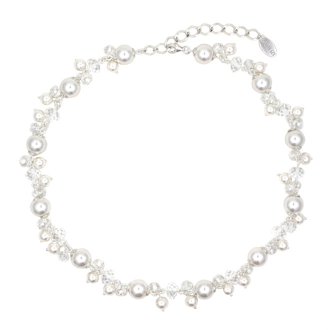 Necklace white pearls crystal - sterling silver - 1344
