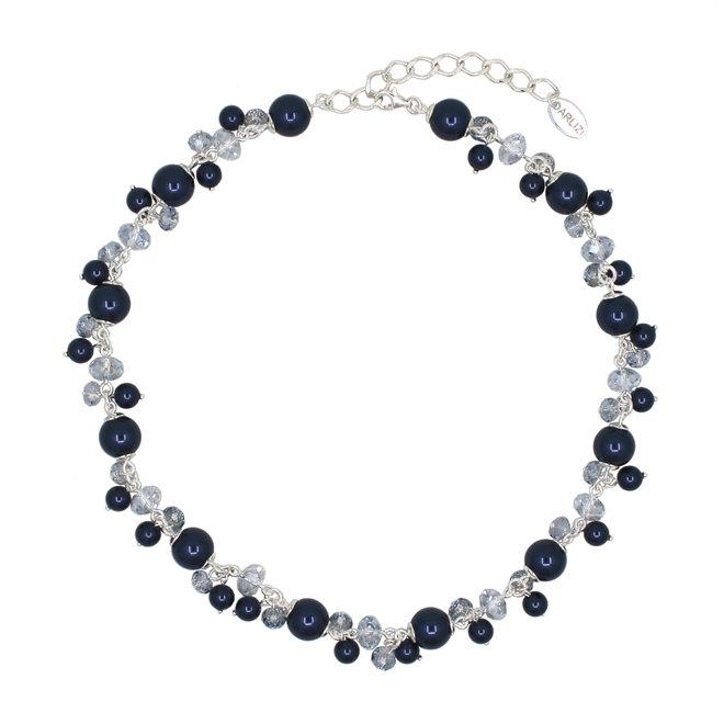Ketting blauw parels kristal - sterling zilver - 1347
