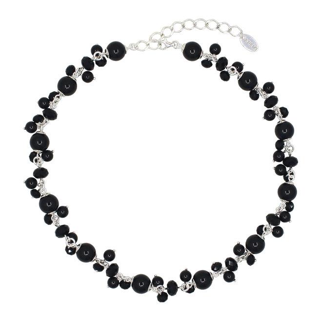 Ketting zwart Swarovski parels kristal - sterling zilver - ARLIZI 1900 - Marla