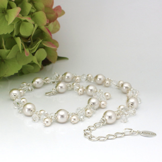 Necklace white Swarovski pearls crystal - sterling silver - ARLIZI 1344 - Marla