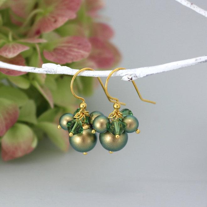 Earrings green Swarovski pearl crystal - gold plated sterling silver - ARLIZI 1358 - Marla
