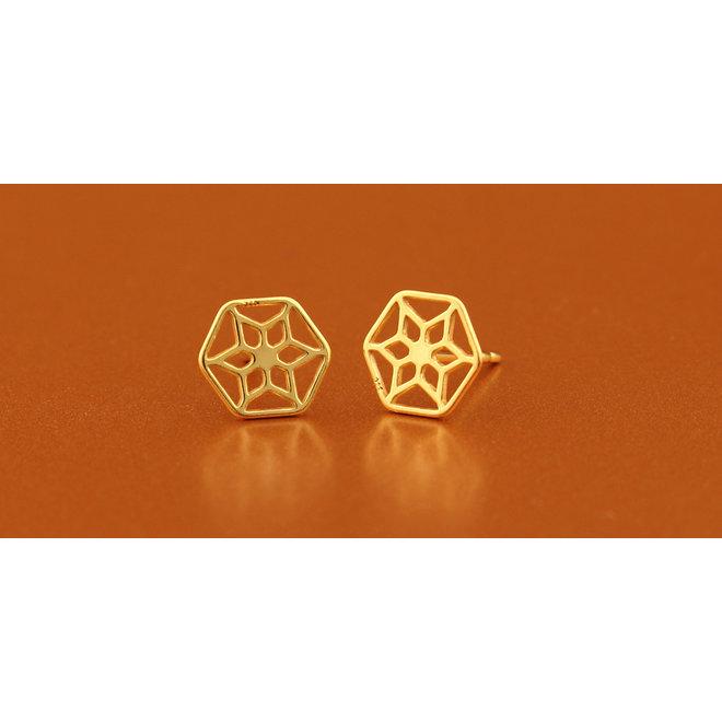 Oorbellen filigree oorstekers - sterling zilver verguld - ARLIZI 1390 - Zoe