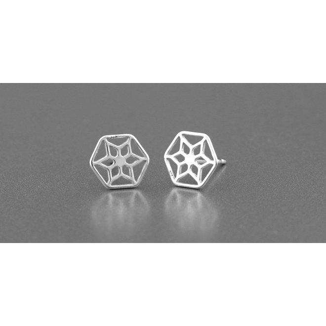 Earrings filigree ear studs - sterling silver - ARLIZI 1389 - Zoe