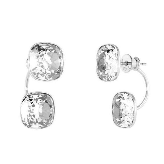 Earrings transparent Swarovski crystal double stone - sterling silver - ARLIZI 1902 - Isabel