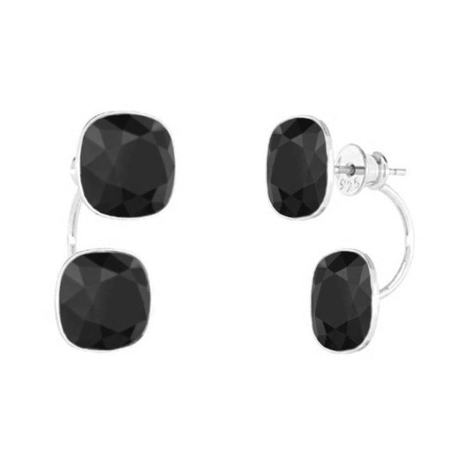 Oorbellen zwart Swarovski kristal double stone - sterling zilver - ARLIZI 1903 - Isabel