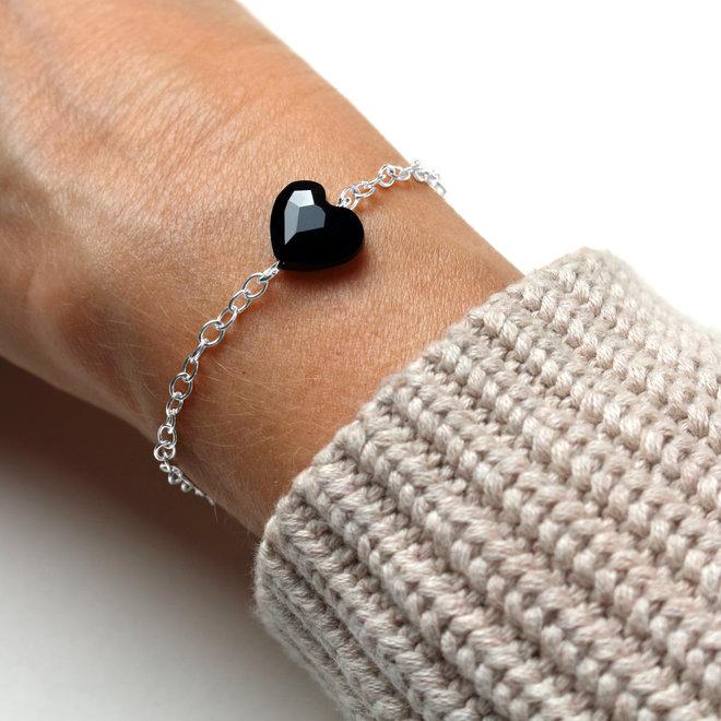 Armband Herz schwarz Swarovski Kristall - Sterling Silber - ARLIZI 1717 - Lara