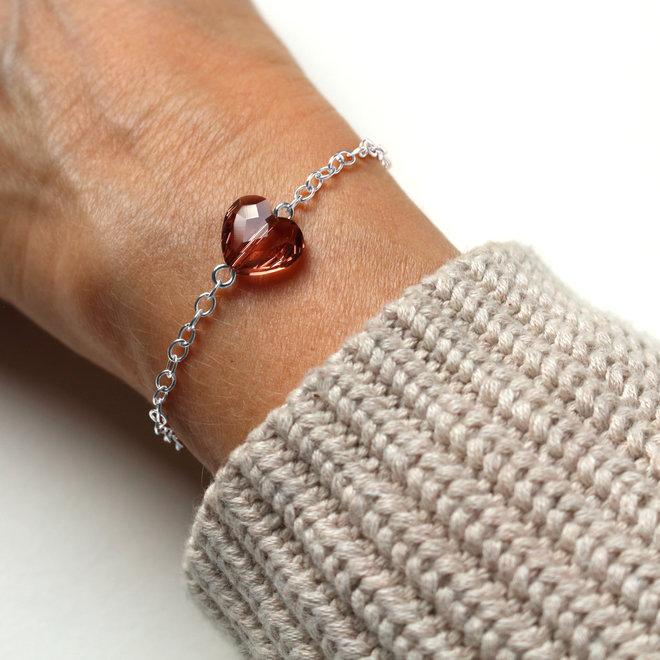 Armband hartje roze Swarovski kristal - sterling zilver - ARLIZI 1719 - Lara