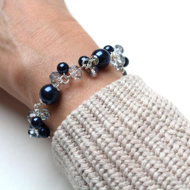 Armband blauw Swarovski parels kristal - sterling zilver - ARLIZI 1348 - Marla