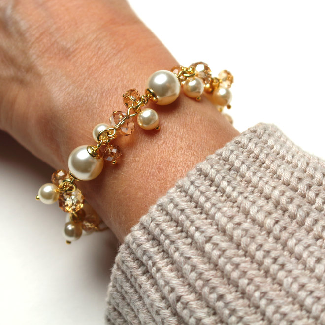 Bracelet cream Swarovski pearls crystal - gold plated sterling silver - ARLIZI 1351 - Marla