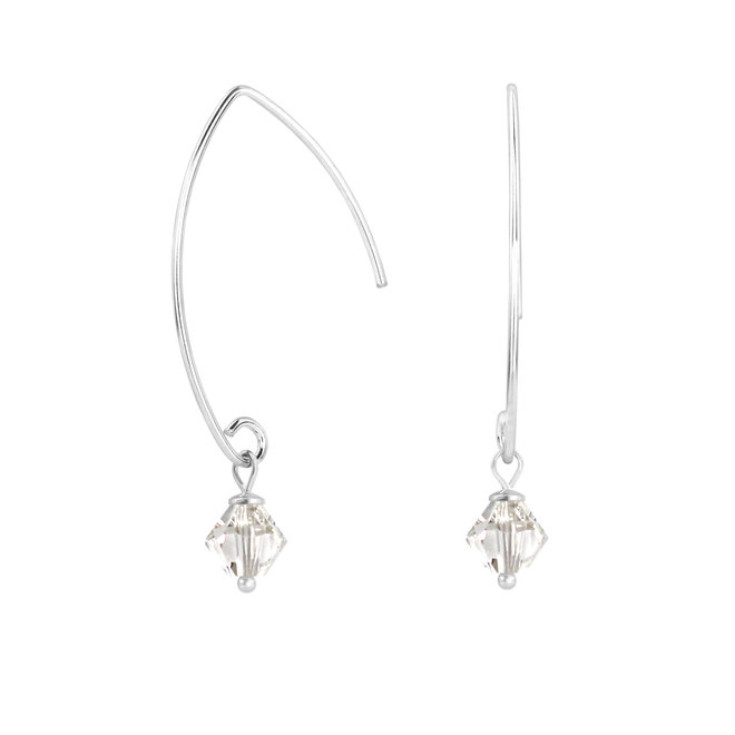 Earrings transparent Swarovski crystal 925 silver - 1908